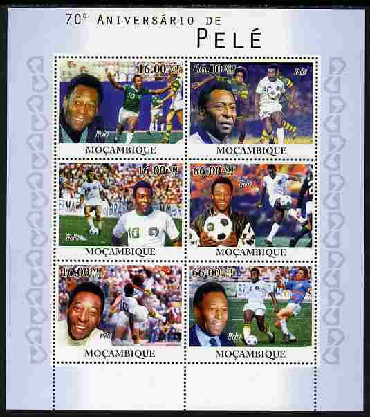 Mozambique 2010 70th Birth Anniversary of Pele perf sheetlet containing 4 values unmounted mint