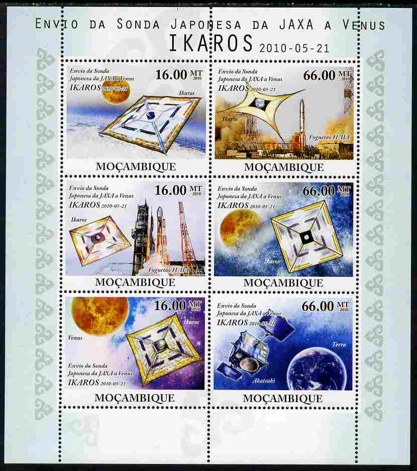 Mozambique 2010 JAXA probe to Venus (IKAROS) perf sheetlet containing 6 values unmounted mint, stamps on space, stamps on planets, stamps on satellites