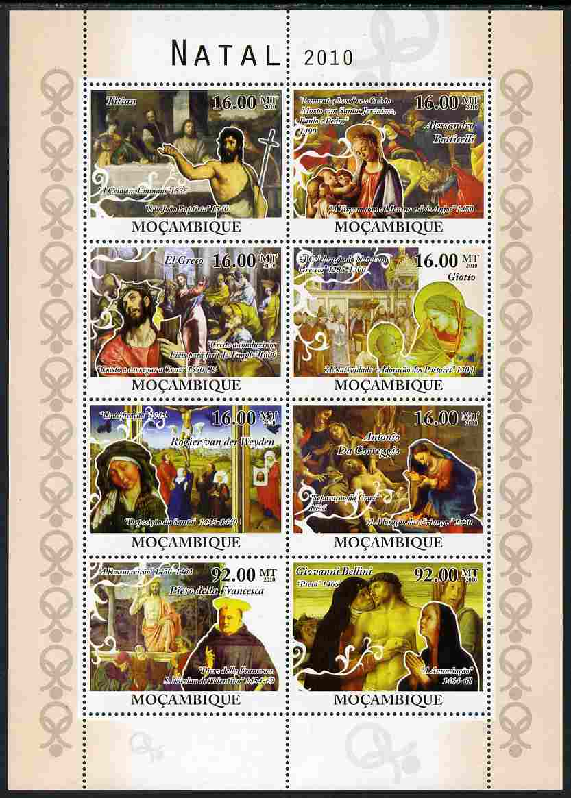 Mozambique 2010 Christmas - Religious Paintings perf sheetlet containing 8 values unmounted mint