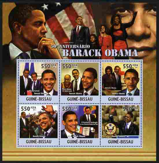 Guinea - Bissau 2011 50th Birth Anniversary of Barack Obama perf sheetlet containing 6 values unmounted mint