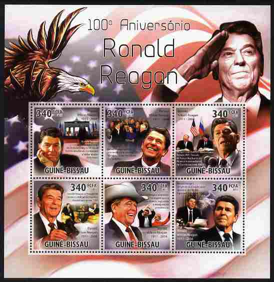Guinea - Bissau 2011 100th Birth Anniversary of Ronald Reagan perf sheetlet containing 6 values unmounted mint