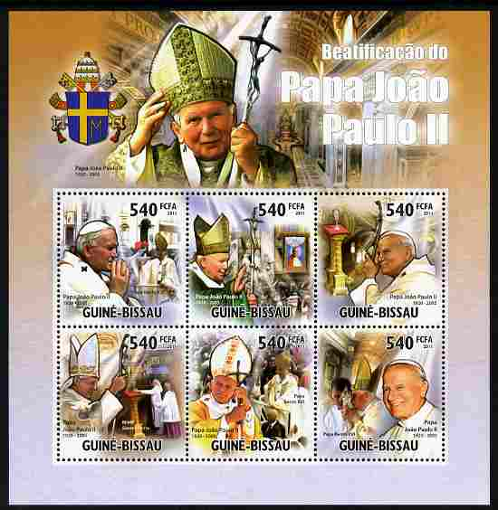 Guinea - Bissau 2011 Beatification of Pope John Paul II perf sheetlet containing 6 values unmounted mint, stamps on personalities, stamps on pope, stamps on popes