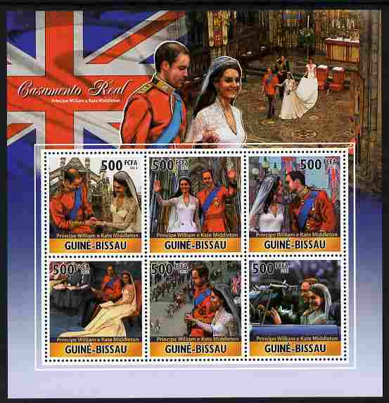 Guinea - Bissau 2011 Royal Wedding - William & Kate perf sheetlet containing 6 values unmounted mint