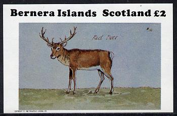 Bernera 1982 Red Deer imperf deluxe sheet (�2 value) unmounted mint