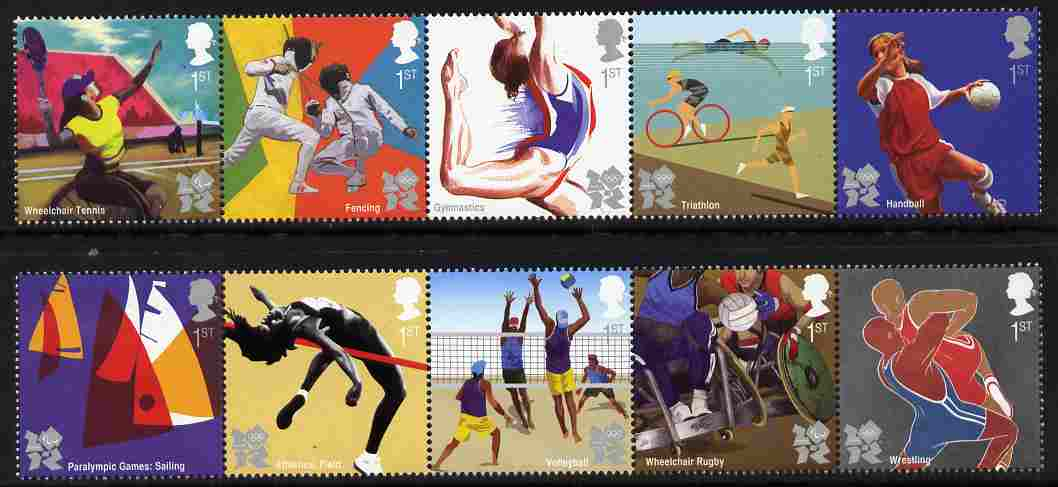 Great Britain 2011 Olympic & Paralympic Games perf set of 10 (2 se-tenant strips of 5) unmounted mint