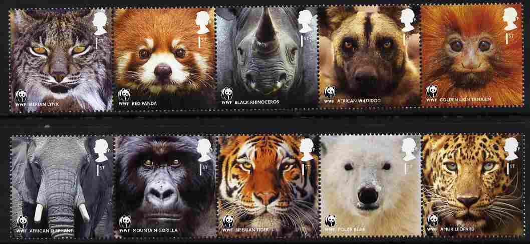 Great Britain 2011 WWF - World Wildlife Fund perf set of 10 (2 se-tenant strips of 5) unmounted mint, stamps on animals, stamps on  wwf , stamps on elephants, stamps on apes, stamps on tigers, stamps on bears, stamps on leopards, stamps on lynx, stamps on pandas, stamps on rhinos, stamps on dogs, stamps on
