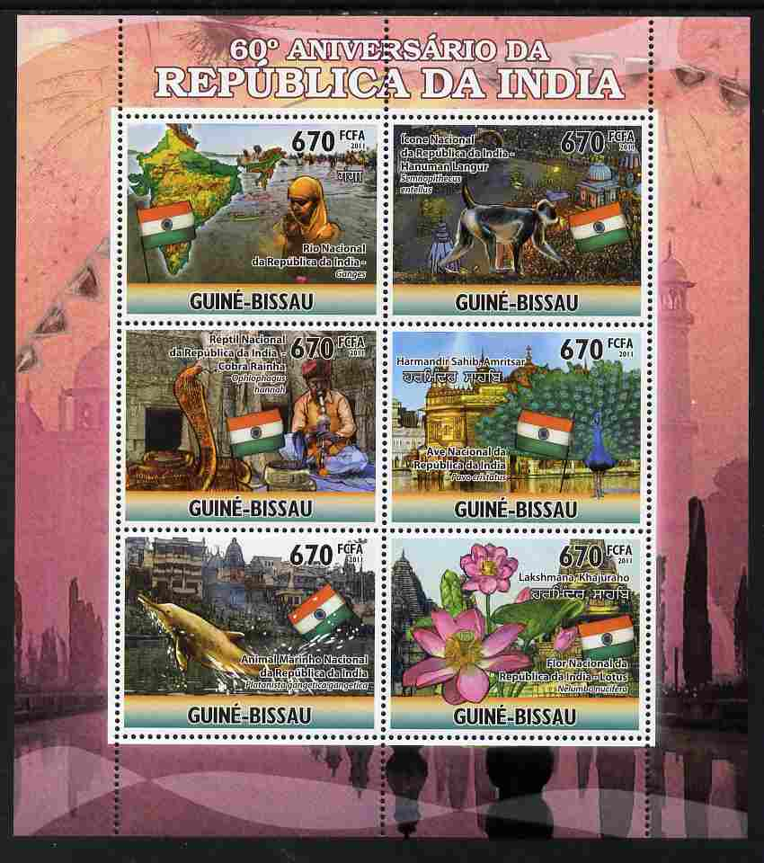 Guinea - Bissau 2011 60th Anniversary of India perf sheetlet containing 6 values unmounted mint Michel 5233-38