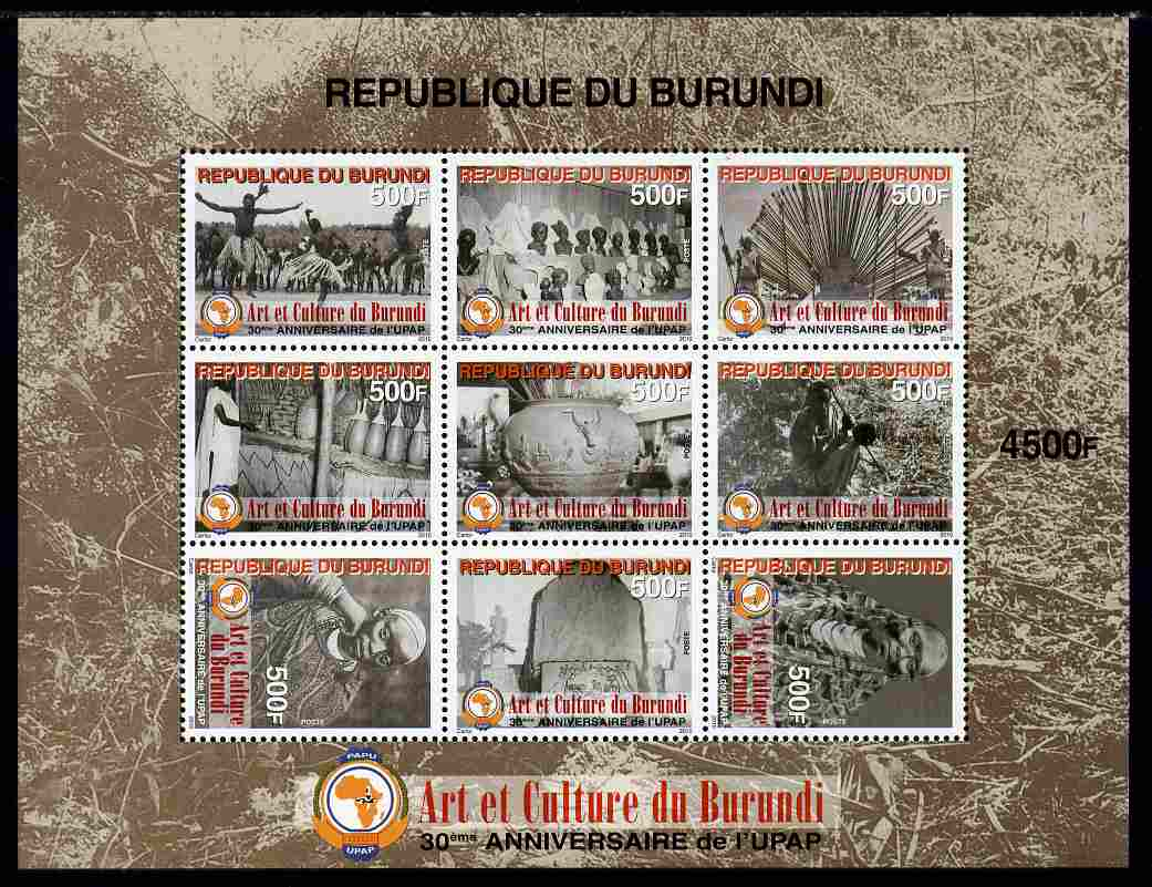 Burundi 2011 Art & Culture perf sheetlet containing 9 values unmounted mint