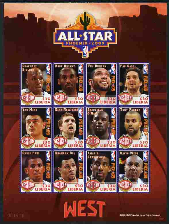 Liberia 2009 Phoenix All-Star Basketball - Western Conference perf sheetlet containing 12 values unmounted mint
