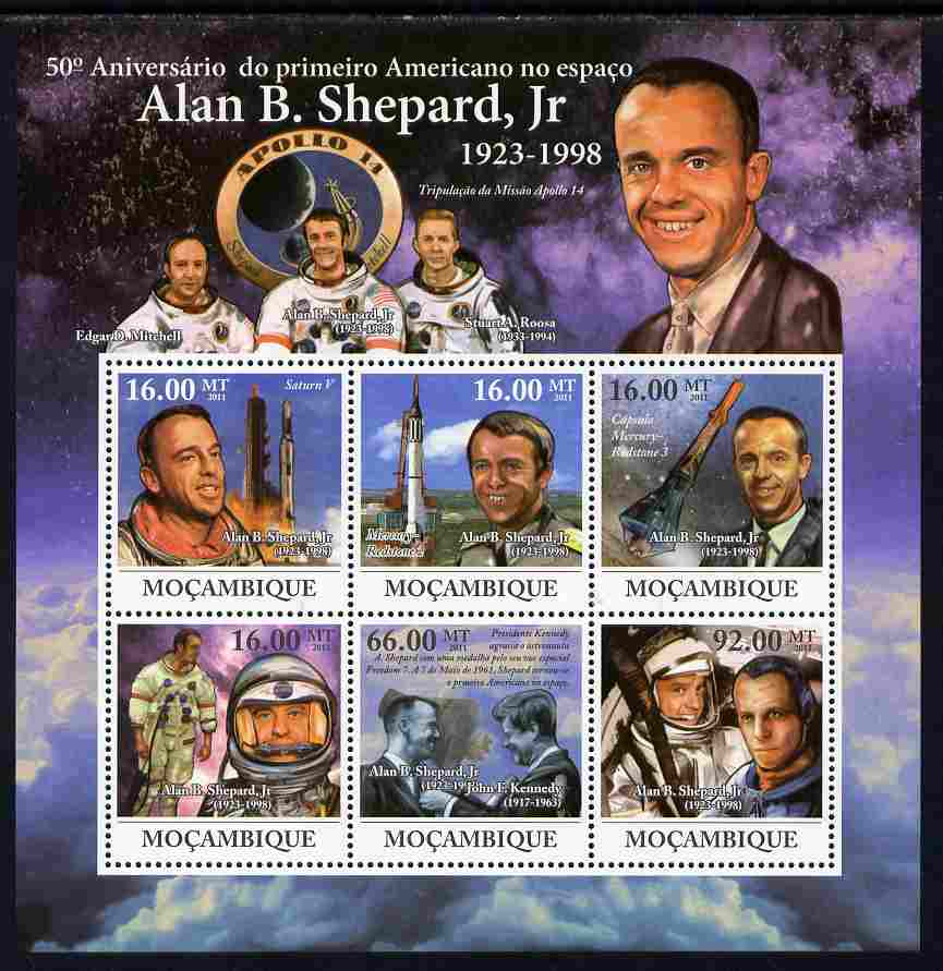 Mozambique 2011 Alan B Shepard - 50th Anniversary of First American in Space perf sheetlet containing 6 values unmounted mint Michel 4605-10