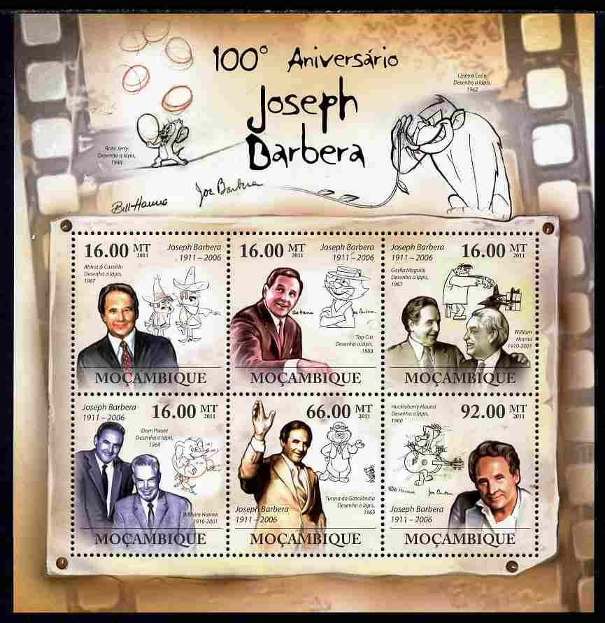 Mozambique 2011 Birth Centenary of Joseph Barbera perf sheetlet containing 6 values unmounted mint Michel 4584-89