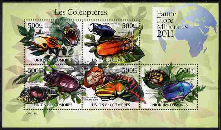 Comoro Islands 2011 Beetles perf sheetlet containing 5 values unmounted mint