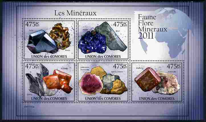 Comoro Islands 2011 Minerals #1 perf sheetlet containing 5 values unmounted mint