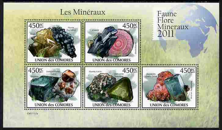 Comoro Islands 2011 Minerals #3 perf sheetlet containing 5 values unmounted mint