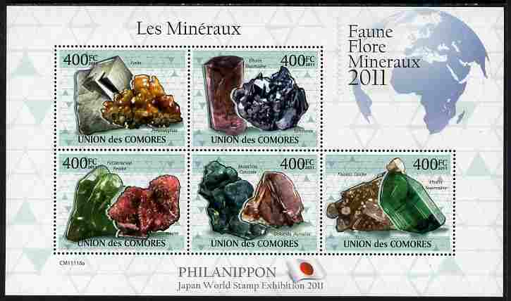 Comoro Islands 2011 Minerals #4 perf sheetlet containing 5 values unmounted mint