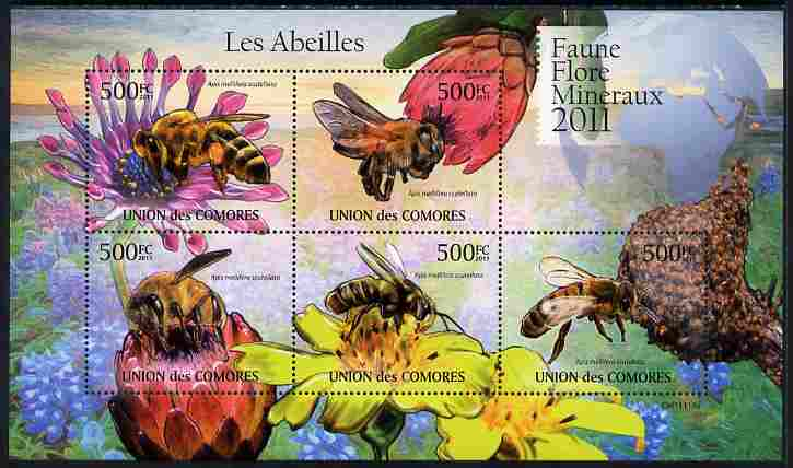Comoro Islands 2011 Bees perf sheetlet containing 5 values unmounted mint