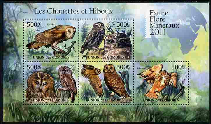 Comoro Islands 2011 Owls #1 perf sheetlet containing 5 values unmounted mint