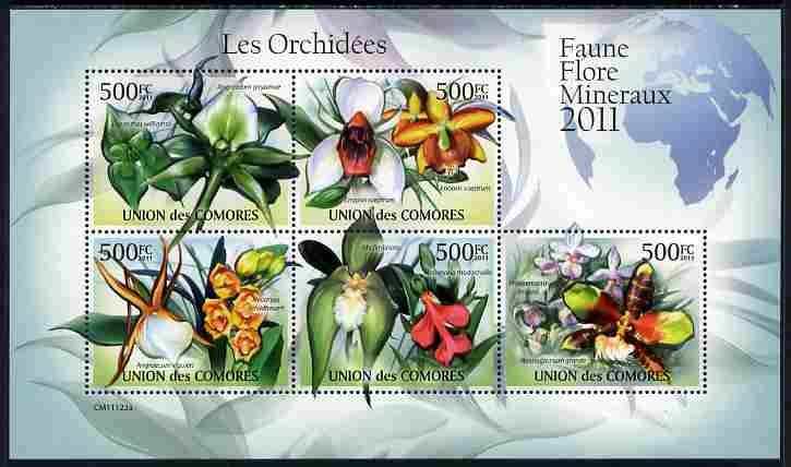 Comoro Islands 2011 Orchids perf sheetlet containing 5 values unmounted mint