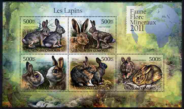 Comoro Islands 2011 Rabbits perf sheetlet containing 5 values unmounted mint
