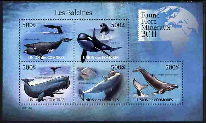 Comoro Islands 2011 Whales perf sheetlet containing 5 values unmounted mint