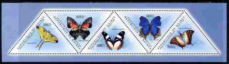Guinea - Conakry 2011 Butterflies perf sheetlet containing set of 5 triangular shaped values unmounted mint, stamps on triangulars, stamps on shaped, stamps on butterflies