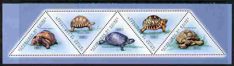 Guinea - Conakry 2011 Turtles perf sheetlet containing set of 5 triangular shaped values unmounted mint