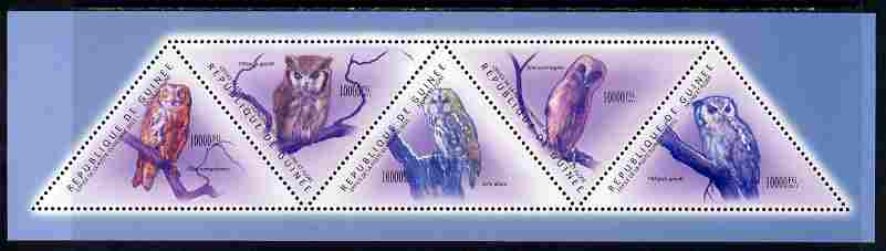 Guinea - Conakry 2011 Owls perf sheetlet containing set of 5 triangular shaped values unmounted mint