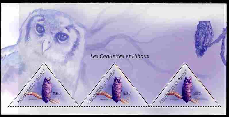 Guinea - Conakry 2011 Owls perf sheetlet containing 3 triangular shaped values unmounted mint