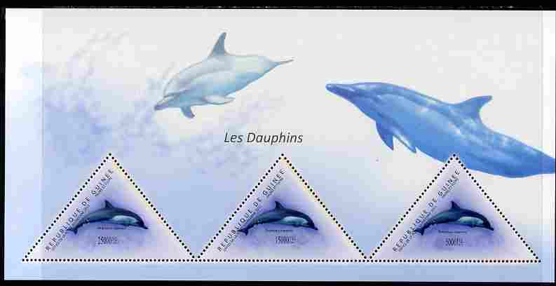 Guinea - Conakry 2011 Dolphins perf sheetlet containing 3 triangular shaped values unmounted mint