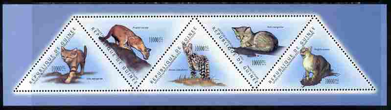 Guinea - Conakry 2011 Wild Cats perf sheetlet containing set of 5 triangular shaped values unmounted mint