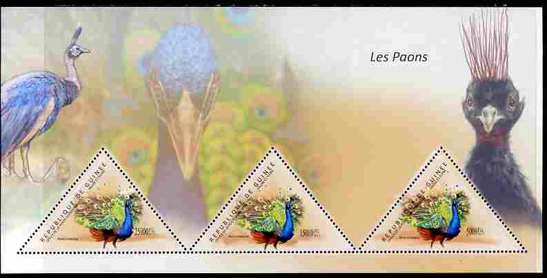 Guinea - Conakry 2011 Peafowl perf sheetlet containing 3 triangular shaped values unmounted mint