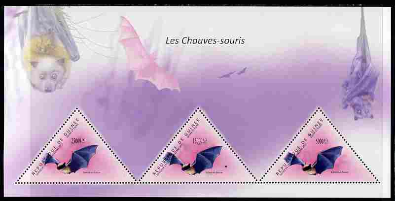 Guinea - Conakry 2011 Bats perf sheetlet containing 3 triangular shaped values unmounted mint