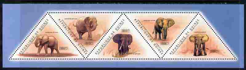 Guinea - Conakry 2011 Elephants perf sheetlet containing set of 5 triangular shaped values unmounted mint