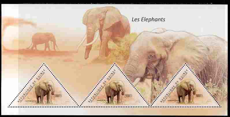 Guinea - Conakry 2011 Elephants perf sheetlet containing 3 triangular shaped values unmounted mint