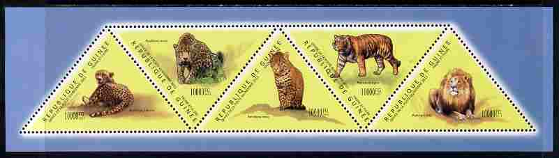 Guinea - Conakry 2011 Big Cats perf sheetlet containing set of 5 triangular shaped values unmounted mint