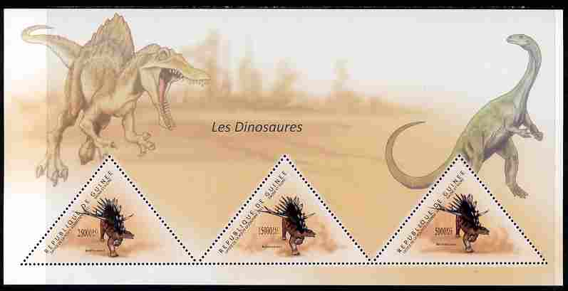 Guinea - Conakry 2011 Dinosaurs perf sheetlet containing 3 triangular shaped values unmounted mint