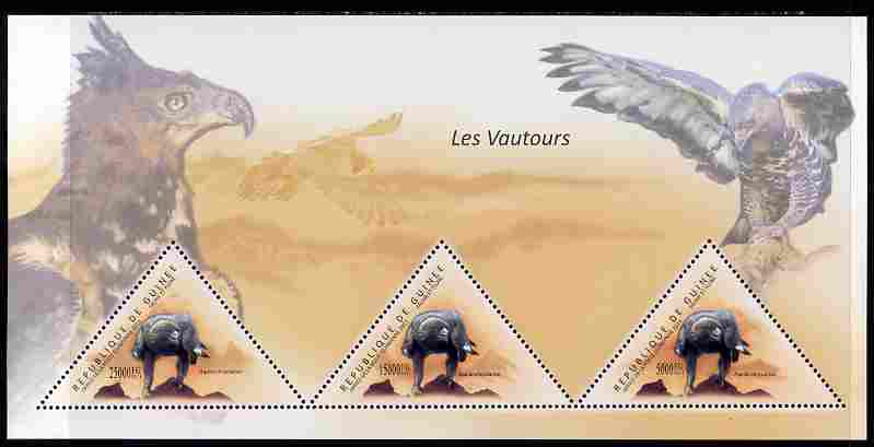 Guinea - Conakry 2011 Birds of Prey perf sheetlet containing 3 triangular shaped values unmounted mint