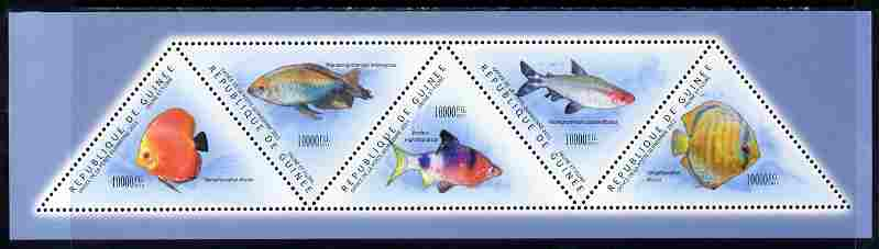 Guinea - Conakry 2011 Fish perf sheetlet containing set of 5 triangular shaped values unmounted mint