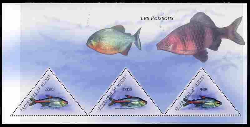 Guinea - Conakry 2011 Fish perf sheetlet containing 3 triangular shaped values unmounted mint