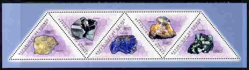 Guinea - Conakry 2011 Minerals perf sheetlet containing set of 5 triangular shaped values unmounted mint