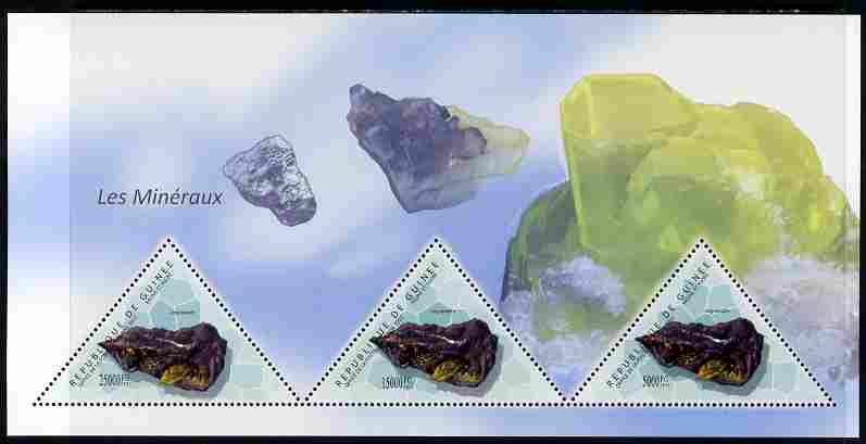 Guinea - Conakry 2011 Minerals perf sheetlet containing 3 triangular shaped values unmounted mint