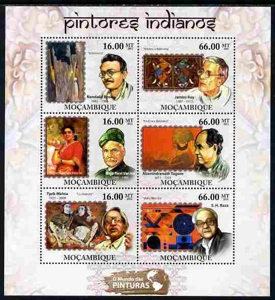 Mozambique 2011 Indian Paintings perf sheetlet containing 6 values unmounted mint