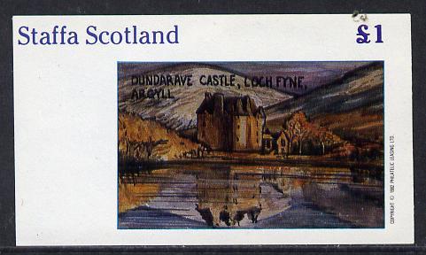 Staffa 1982 Castles #1 (Dundarave Castle) imperf souvenir sheet (�1 value) unmounted mint