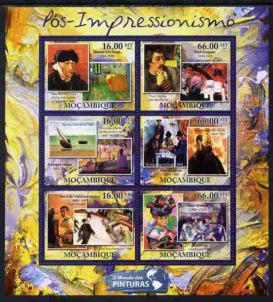 Mozambique 2011 Post Impressionism Art perf sheetlet containing 6 values unmounted mint
