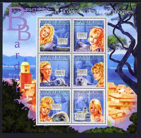 Guinea - Conakry 2011 Brigitte Bardot perf sheetlet containing 6 values unmounted mint