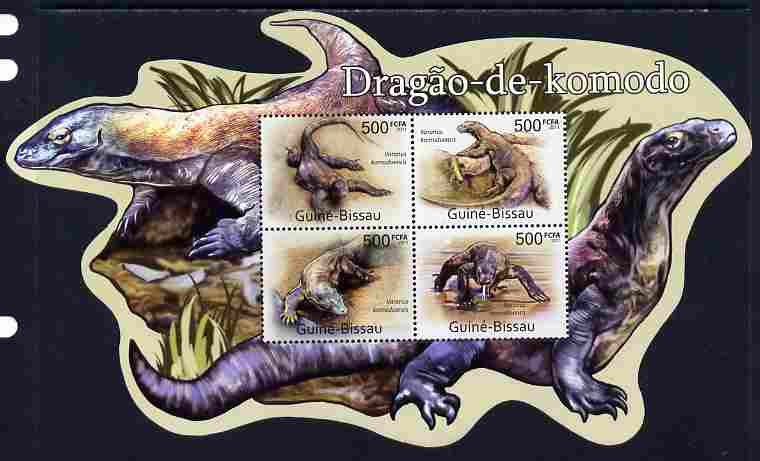 Guinea - Bissau 2011 Komodo Dragons special shaped perf sheetlet containing 4 values unmounted mint