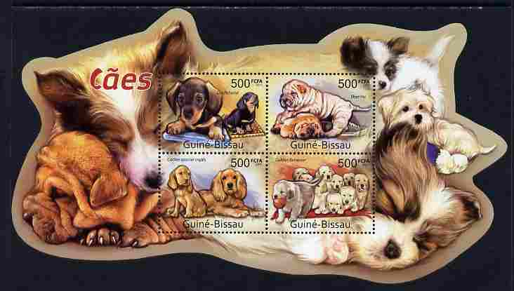 Guinea - Bissau 2011 Dogs special shaped perf sheetlet containing 4 values unmounted mint