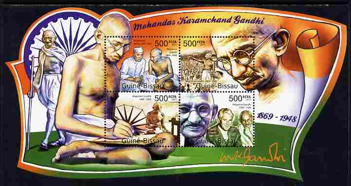 Guinea - Bissau 2011 Mahatma Gandhi special shaped perf sheetlet containing 4 values unmounted mint
