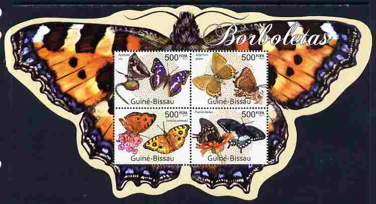 Guinea - Bissau 2011 Butterflies special shaped perf sheetlet containing 4 values unmounted mint