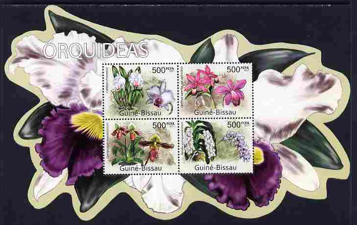 Guinea - Bissau 2011 Orchids special shaped perf sheetlet containing 4 values unmounted mint